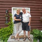 Ann and Larry with Whickers the Travelling Gnome
