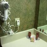 Hair dryer and nice quality shampoo etc, plus thick nice towels