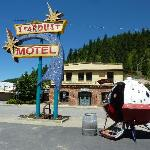 "Cool retro Motel sign and ""escape pod"""