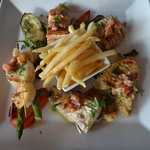 Grilled seafood with grilled vegetables