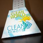 Easy clean TV remote--no more Ziploc bags around the remote to be sure we aren't getting germy!