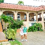Front of the Villa Coral with the owners