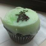mint frosting on chocolate cupcake