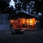At sundown the Feather Down Farm tents are a great place to stay over at