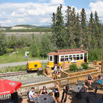 The earls patio overlooking the Yukon River