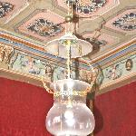 17th century chandelier designed in the shape of a broad brimmed cardinal's hat in honor of  Bar