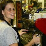 Erin making a cappuccino
