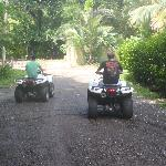 The boys exploring on their ATVs