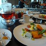 breakfast - fish and nicely presented tea