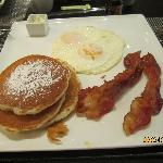 Eggs, bacon and pancakes