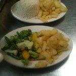 homemade fries, rice, veggies