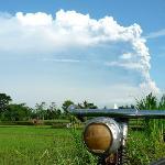 Beautiful 2010 Mt. Merapi eruption as seen from a village near Prambanan Temple