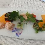 Melon trio and its shrimp cocktail