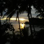 Sunset from our cliffside cottage at Monarch Sands