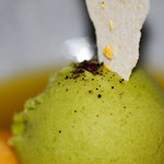 Passion fruit, mange and basil sorbet