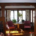 View of lovely sunroom off of the living room