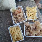 Fish and Chips-don't expect cod, as we ignorantly did..mixture of squid/octopus and prawn. lovel