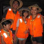 """my whole family armed with our life vests & """"salakot' (local hand-woven hats)"""