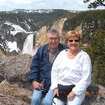 Bob and Karol at the Lower Falls in Yellowstone National Park