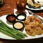 fried shrimp and steamed asparagus