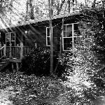 Black & White of the cabin.
