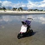 Beach and sleeping 3 year old in rented jogging stroller