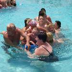 canoe relay race in pool