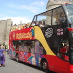 The tour bus outside Windsor Castle