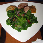 Apple-brined pork tenderloin with spinach salad