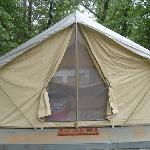 The tent close-up, see the beautiful bed inside
