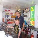My son at Alf's chip shop