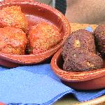 Meatballs on left and tuna croquettes on right. Had to eat one of each before I could take pictu