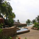 The swimming pool and sea view