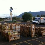 Crates in parking lot