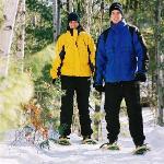 Couple Snow Shoeing