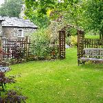 Abercelyn enclosed garden with sitting area