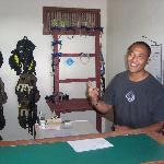 Madya, our dive master and dive office.
