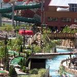 Looking across the lazy river towards the indoor dome