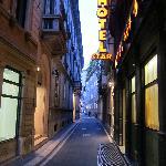 Hotel entrance in small alleystreet dei bossi
