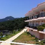 One of the hotel buildings that overlooks the tennis court and valley.
