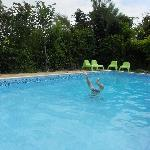 playing in the swimming pool