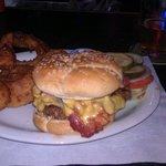 Bacon Cheeseburger and Onion Rings