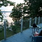 Relaxing on the B&B deck as the sun sets.