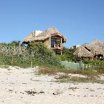 View of the La Luna cabana from the beach