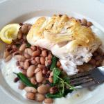 hot dry fish, cold watery beans, lemon something (yogurt?) and a stepped on lemon,