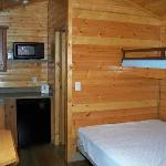 Double bed with single bunk above