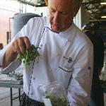 Chef Long prepares the first course salad
