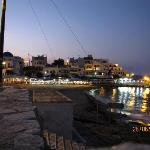 Apollonas beach and restaurant's in the evening