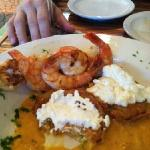 fried green tomatoes with shrimp napoleon