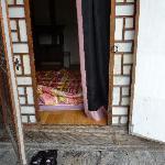Sliding doors (noisy and hard to open) and swinging doors